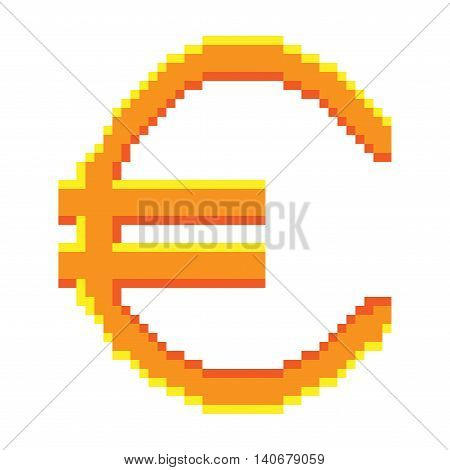Sign pixel euro gold. Colorful icon isolated on white background. Pixelated design. Logo for business. Europe finance symbol made of pixels. Mark of commerce. Stock vector illustration