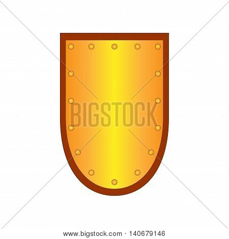 Sign shield gold. Protection icon isolated on white background. Mark with volume effect. Symbol of a bronze guard. Colorful element. Logo for military and security. Stock vector illustration