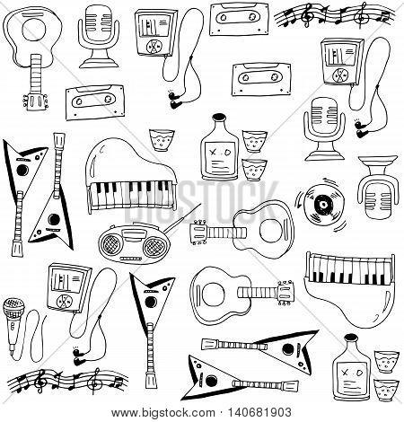 Doodle of music stock element set vector illustration