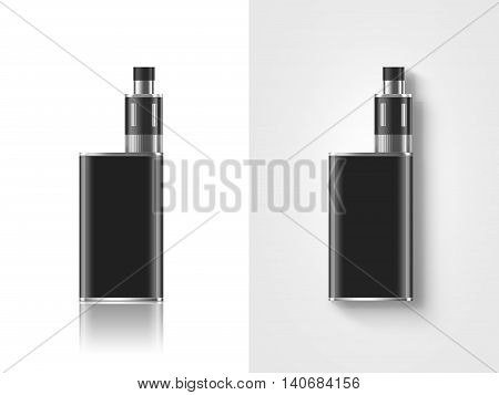 Blank black vape mod box mockup isolated clipping path stand and lies 3d illustration. Clear smoking vapor mock up template. Modbox vaporizer device presentation. E-cigarette vaping gear design.