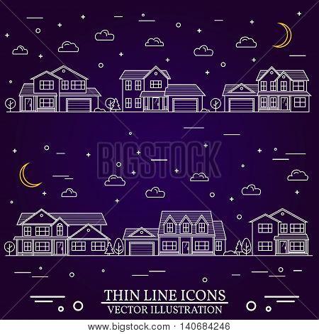 Neighborhood With Homes Illustrated On Purple Background.