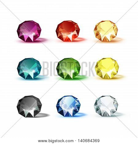 Vector Set of Colored Blue Turquoise Purple Yellow Orange Green White Black and Red Shiny Clear Diamonds  Isolated on White Background