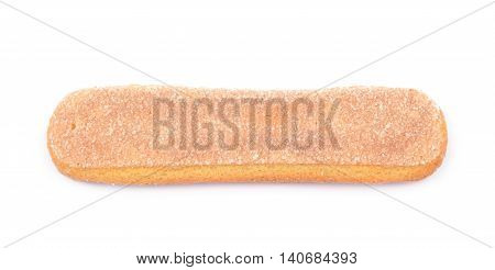 Single ladyfinger savoiardi biscuit cookie isolated over the white background