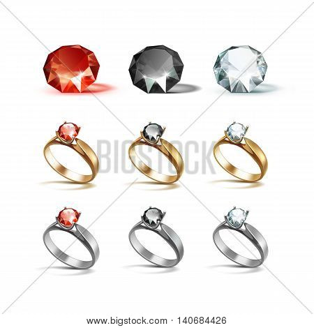 Vector Set of Gold and Siver Engagement Rings with Red Black and White Shiny Clear Diamonds Isolated on White Background