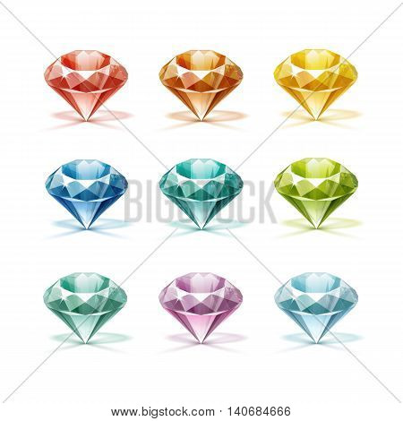 Vector Set of Colored Blue Turquoise Lilac Purple Yellow Orange Green and Red Shiny Clear Diamonds  Isolated on White Background