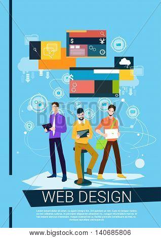 Web Designer Business People Team Working Flat Vector Illustration