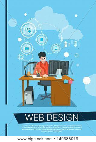 Web Designer Business Man Work Desktop Computer Workplace Flat Vector Illustration