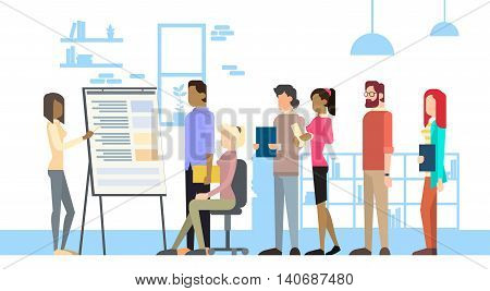 Business Woman Show Board Businesspeople Group Conference Meeting Flip Chart Vector Illustration
