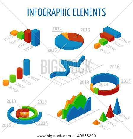 Isometric 3d vector charts set for infographics. Business graph and chart for report, illustration pie chart for presentation data illustration