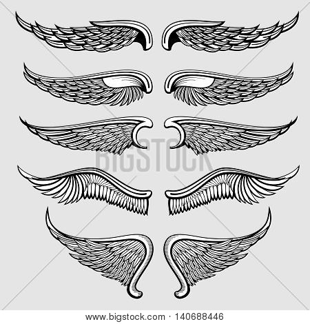 Heraldic bird, angel wings vector set. Wings angel tattoo, illustration gothic wings eagle