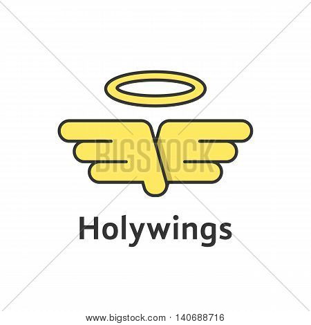 holy wings with yellow outline emblem. concept of christian, believe, christianity, god, winged falcon, heavenly. isolated on white background. flat style modern brand design vector illustration