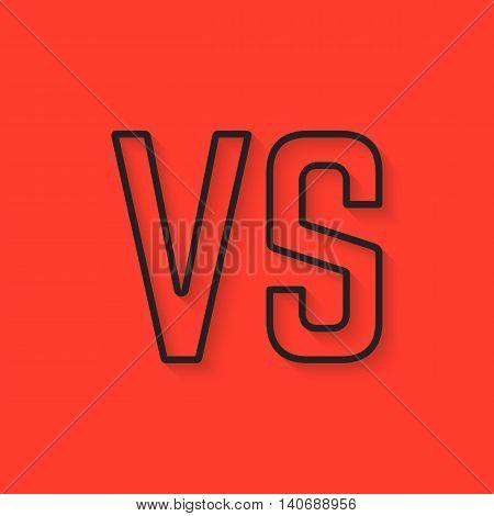 black versus sign on red background. concept of assault, opposition, confrontation, creative mark, struggle, military, vintage sign. flat style trendy modern design eps10 vector illustration