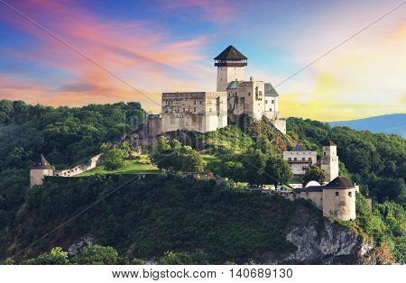 Castle Trencin Slovakia at a sunset time