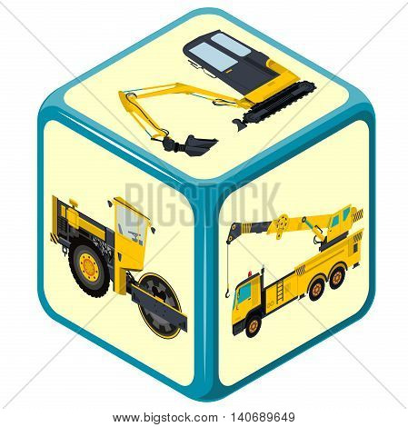 Playing isometric dice. Construction machinery game. Color full cube on white background. Six sides game die. Side with excavator, bagger and truck, risk. Flatten isolated master vector illustration.