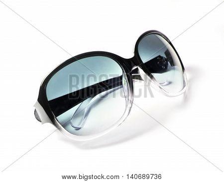 Retro sunglasses, isolated on white background. Bue sunglasses.
