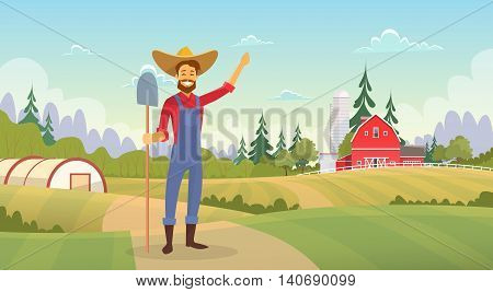 Farmer Standing Show Farm, Farmland Countryside Landscape Flat Vector Illustration