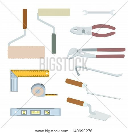 House repairs tools. Crowbar, groove joint pliers, joint filler, open-ended spanner, paint roller, setsquare, slip joint pliers, spirit level, square trowel, tape measure, wallpaper roller, colorful.