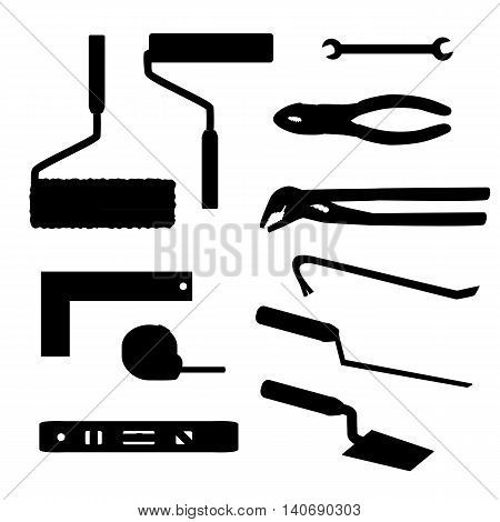 House repairs tools Crowbar, groove joint pliers, joint filler, open-ended spanner, paint roller, setsquare, slip joint pliers, spirit level, square trowel, tape measure, wallpaper roller, silhouettes