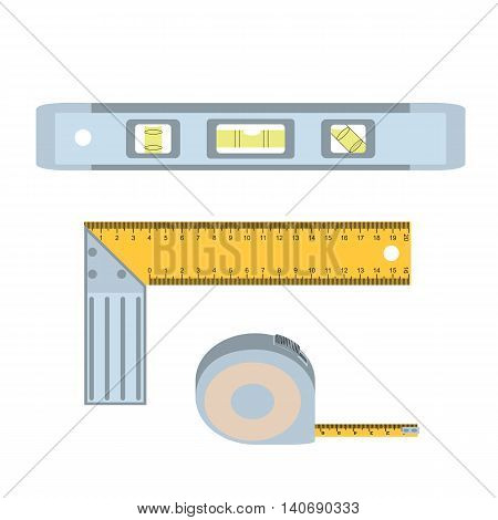House repairs tools. Setsquare, spirit level, tape measure. Tools for repair setsquare, spirit level, tape measure . Colorful images of repair tools setsquare, spirit level, tape measure .