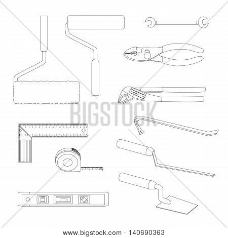 House repairs tools. Crowbar, groove joint pliers, joint filler, open-ended spanner, paint roller, setsquare, slip joint pliers, spirit level, square trowel, tape measure, wallpaper roller, outline. poster