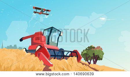 Combine Harvesting Wheat Crop In Field Flat Vector Illustration