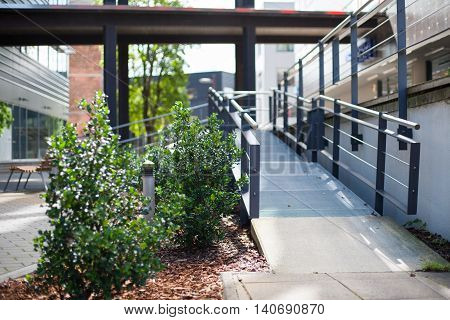 Wheelchair ramp leading to an office building