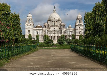 Victoria Memorial a large marble building in Kolkata which was built and dedicated to the memory of Queen Victoria (1819-1901) which is now a museum and tourist destination.