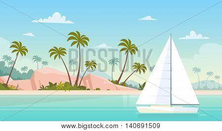Summer Vacation Yacht Sail Sea Shore Sand Beach Flat Vector Illustration