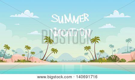 Summer Vacation Sea Shore Sand Beach Blue Sky Sun Vector Illustration
