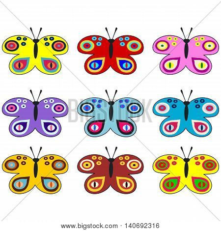 Set of colored decorative butterflies - usable as web icons or design elements, banner, poster, stickers or labels.
