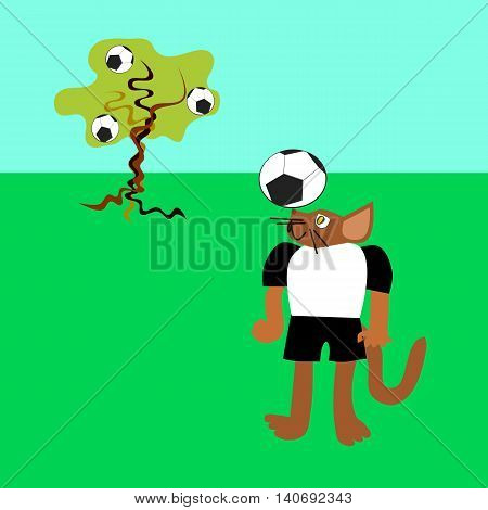 Brown cat in black and white sports jersey, balancing a football balloon.