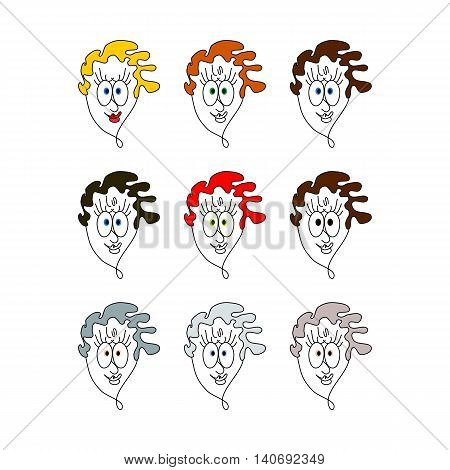 Human face icon character type - colorful variety simple stylized cartoon digitally drawing