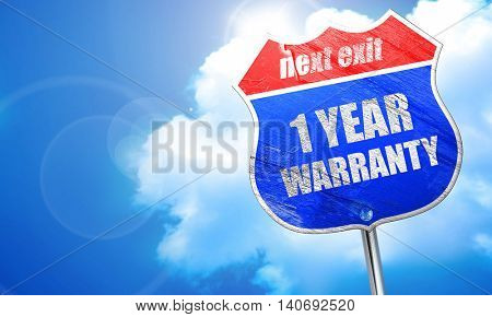 1 year warranty, 3D rendering, blue street sign