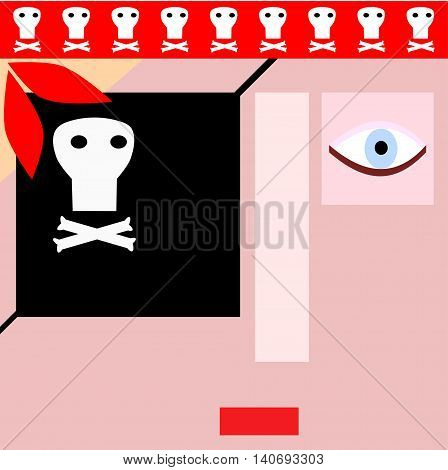 Pirate face composed of banners - stylized illustration for children's book