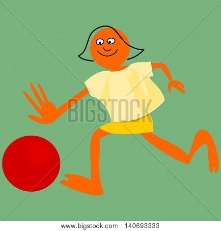 Bald girl, with outline implied hair, running behind a balloon. Simple stylized cartoon drawing.