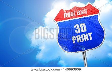 3d print, 3D rendering, blue street sign