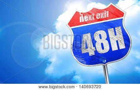 48 hours, 3D rendering, blue street sign