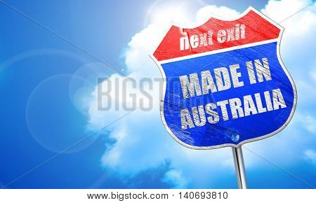 Made in australia, 3D rendering, blue street sign