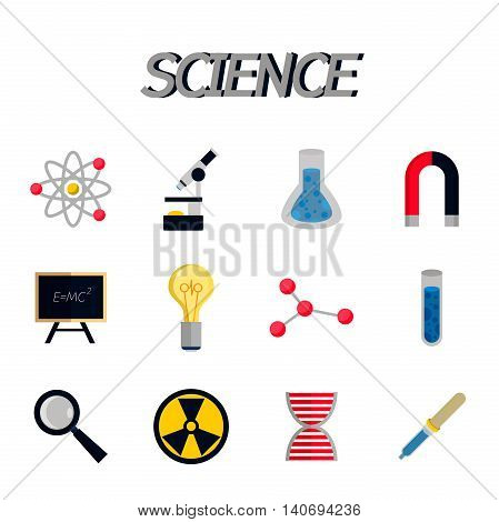 Science and education flat icons. Vector illustration, EPS 10
