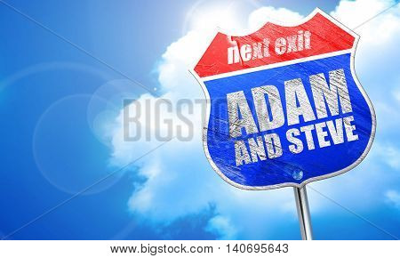adam and steve, 3D rendering, blue street sign