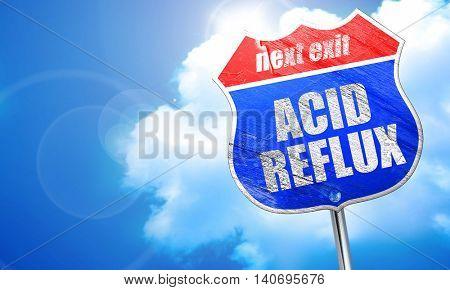 acid reflux, 3D rendering, blue street sign