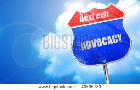 advocacy, 3D rendering, blue street sign