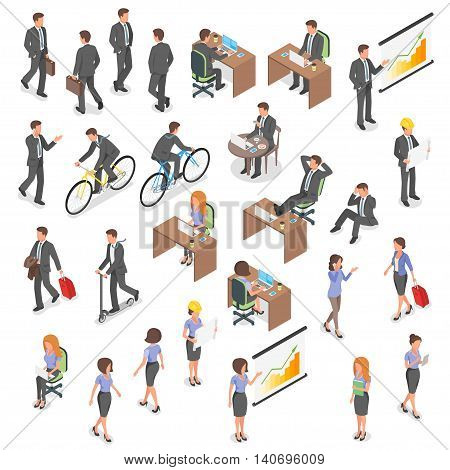 Isometric vector set of business people: man and woman.