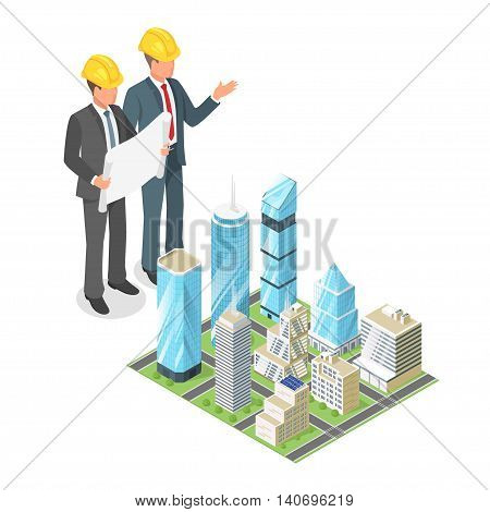 Vector 3d isometric concept of businessman or engeneer in hard hat with plan of city with skyscrapers