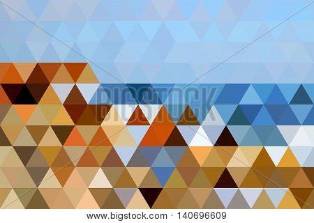 Stylezed landscape of Black Sea shore made of isoscale triangle shapes