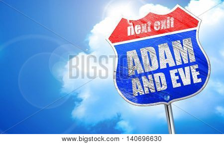 adam and eve, 3D rendering, blue street sign
