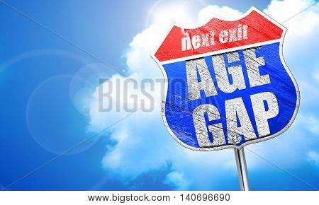 age gap, 3D rendering, blue street sign