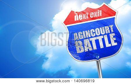agincourt battle, 3D rendering, blue street sign