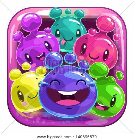 Funny app icon for application store logo with cute cartoon colorful jelly characters. Kids game asset, vector illustration.