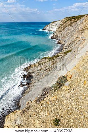 Summer Ocean Coastline View In Barrika Town (spain).
